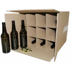 Коричневая бутылка стеклянная 0,5 л гофракороб 20 бутылок + 20 кроненпробок